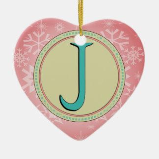 J-MONOGRAMM-BUCHSTABE KERAMIK Herz-Ornament
