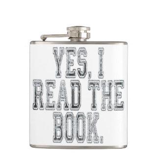 Ja las ich das Buch-Grau Flachmann