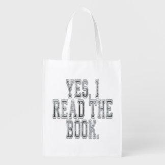 Ja las ich das Buch-Grau Wiederverwendbare Tragetasche