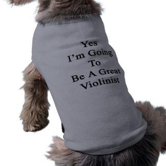 Ja werde ich ein großer Violinist sein Ärmelfreies Hunde-Shirt