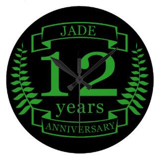 Jade-Edelstein-Hochzeitstag 12 Jahre Wanduhr