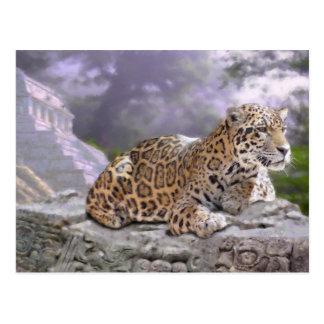 Jaguar und Mayatempel Postkarte
