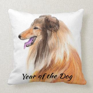 Jahr des Hundes - Hand gezeichneter Collie-Druck Kissen