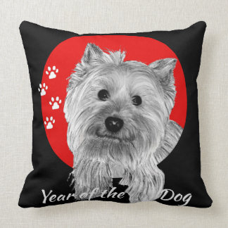 Jahr des Hundes - Hand gezeichneter Terrier-Druck Kissen