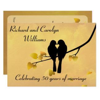 Jahrestags-Einladung der Liebe-Vogel-50. 11,4 X 15,9 Cm Einladungskarte