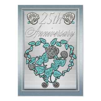 Jahrestags-Einladungs-Karten-Silber-Jahrestag 12,7 X 17,8 Cm Einladungskarte