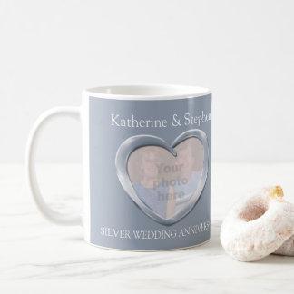 Jahrestags-Foto-Tasse der silbernen Hochzeit Tasse