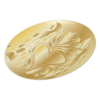 JAHRESTAGS-GESCHENK-PLATTE des DELUXES GOLD3d Flache Teller