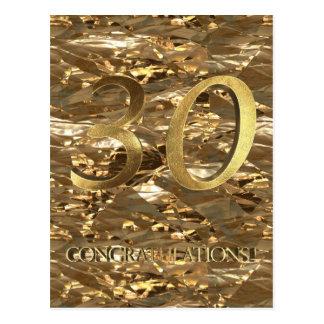 Jahrestags-Goldtypographie der Nr.-30 30. Postkarte