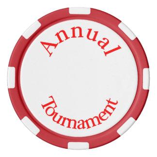 Jährliche Turnier-Rote Text-Poker-Chips Poker Chips