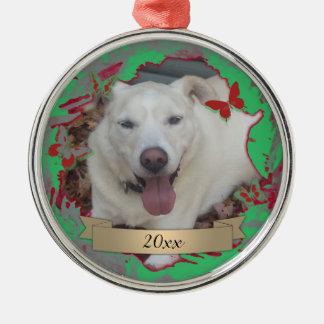 Jährliche Weihnachtsverzierung mit Kranz u. Silbernes Ornament