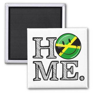 Jamaikanisches Zuhause-lächelnder Quadratischer Magnet
