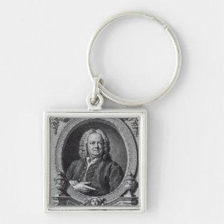 James Gibbs, graviert von Bernard Baron, 1747 Silberfarbener Quadratischer Schlüsselanhänger