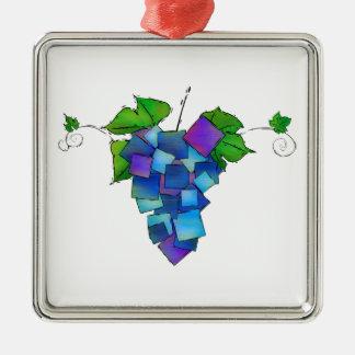Jamurissa - quadratische Trauben Quadratisches Silberfarbenes Ornament