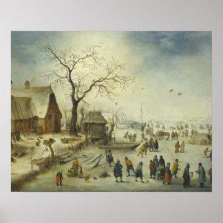 Jan Brueghel das jüngere - Dorfbewohner auf dem Poster