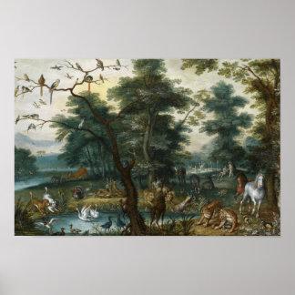 Jan Brueghel das jüngere - Paradies-Landschaft Poster
