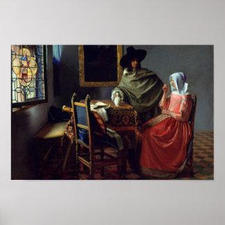 Jan. Vermeer - das Glas des Weins Poster
