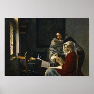 Jan. Vermeer - Mädchen unterbrochen an ihrer Musik Poster