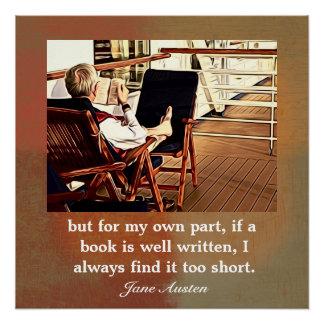 Jane Austen-Zitat auf Lesung - Kunstdruck Poster