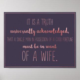 Jane Austen-Zitat-Plakat Poster