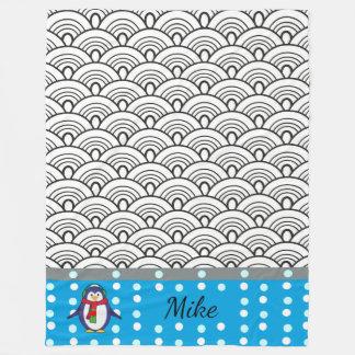 Japan kritzelt Muster, Pinguin, Ihr Name Fleecedecke