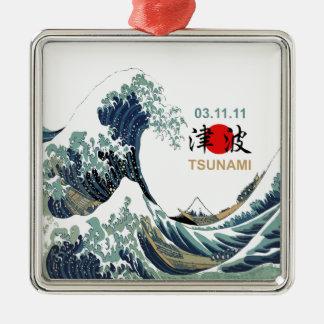Japan-Tsunami 2011 Quadratisches Silberfarbenes Ornament