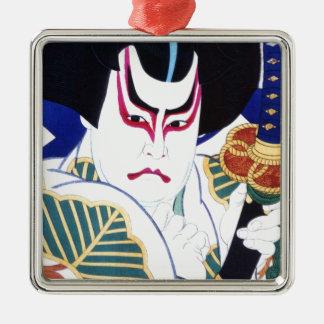 Japaner Kabuki Schauspieler-Kunst durch Natori Silbernes Ornament