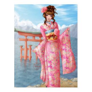 Japanese pink kimono postkarte