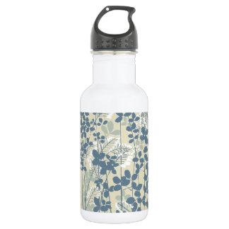 Japanische asiatische Kunst-blauer Blumen-mit Edelstahlflasche