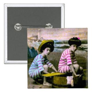 Japanische badenschönheits-Vintage Strand-Babys Quadratischer Button 5,1 Cm