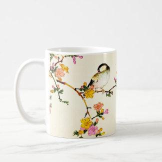 Japanische bunte Blumen u. Vogel Tasse