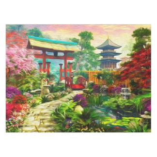 Japanische Garten-Pagode Kirschblüte und Tischdecke