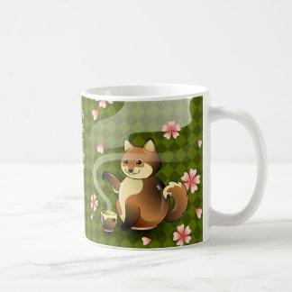 Japanische Kanji-Tasse grüner Tee Kitsune Fox Kaffeetasse