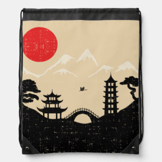 Japanische Landschaft - Schmutz-Art Turnbeutel