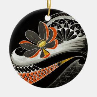 Japanische Lotos-Blume mit Kirschblüten Rundes Keramik Ornament