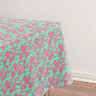 Japanischer Blumendruck-- rosa u. aquamariner Tischdecke