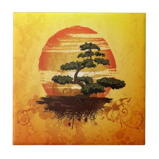 Japanischer Bonsais-Baum-Sonnenuntergang Fliese