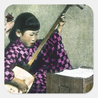 Japanischer Mädchen-Musiker Shamisen Vintag Quadratischer Aufkleber