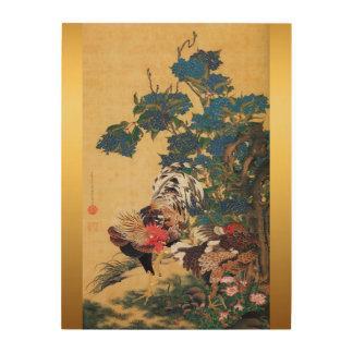 Japanisches Holz des Malerei-Hahn-neuen Jahr-2017 Holzleinwände