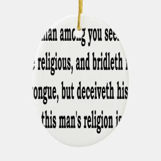 Jas. 1:26, w ovales keramik ornament