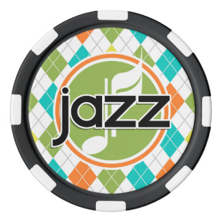 Jazz-Musik; Buntes Rauten-Muster Poker Chips Set