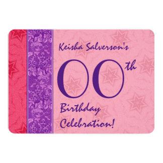 JEDES JAHR Geburtstags-lila Rosa hat A04 in der 12,7 X 17,8 Cm Einladungskarte