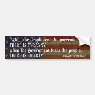 Jefferson: Freiheit gegen Tyrannei Autoaufkleber