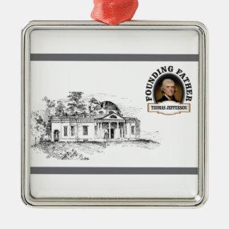 Jefferson in Monticello Quadratisches Silberfarbenes Ornament