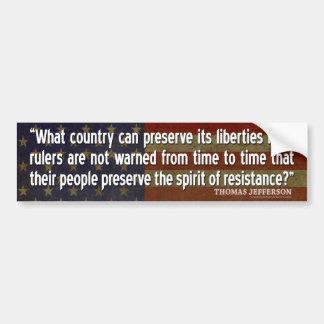 Jefferson-Zitat: Geist des Widerstands Autoaufkleber