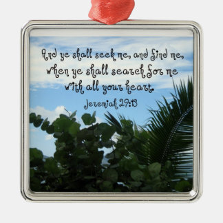 Jeremias-29:13, das Gott sucht und findet Quadratisches Silberfarbenes Ornament