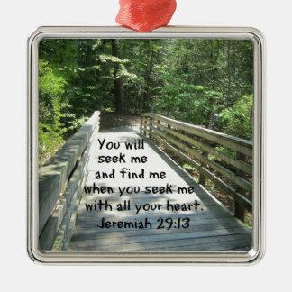 Jeremias-29:13 Quadratisches Silberfarbenes Ornament