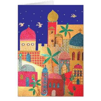 Jerusalem-Stadt-bunte Kunst Grußkarte