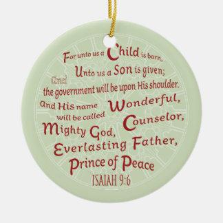 Jesaja-9:6 in den Weihnachtsfarben Keramik Ornament