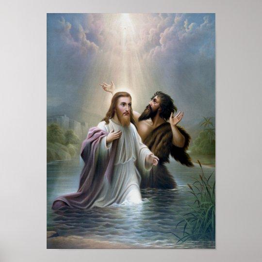 Jesus Christus Taufe Durch Johannes Der Täufer Poster